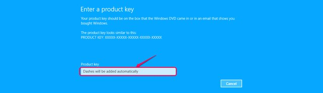 Use a new product key to register or update your system.