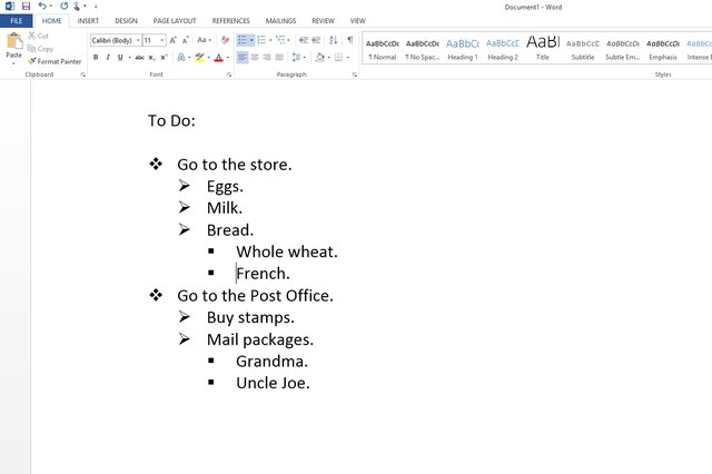 Create a list in Microsoft Word to organize your day.