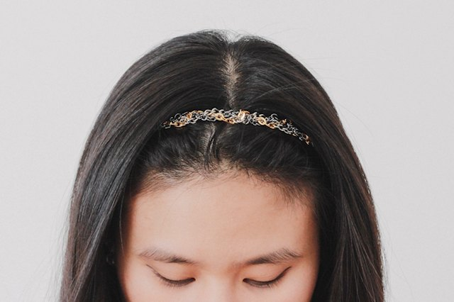 Make a headband by braiding leftover strands of chain.