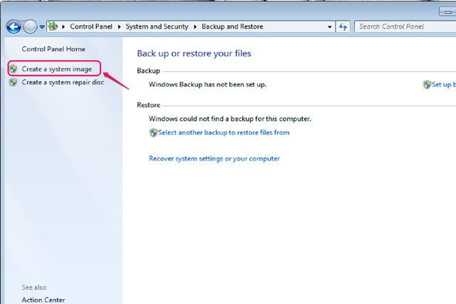 """Select """"Create a system image"""" from the left panel of the window."""