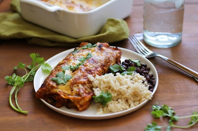 Vegetarian enchiladas make a healthy and satisfying meal.