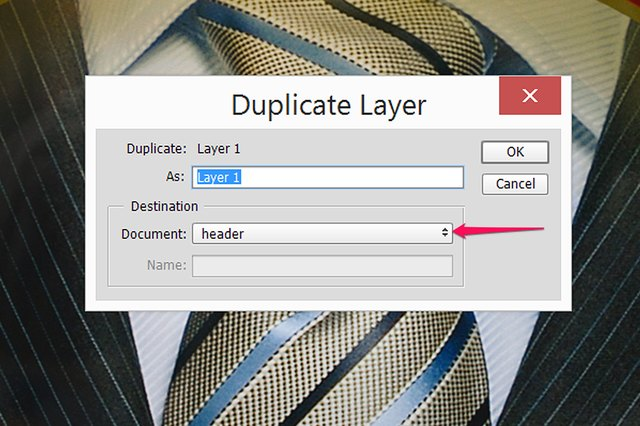 Select the header's file in the Duplicate Layer window's Document menu.