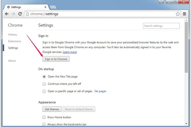 The Sign In to Chrome button in the Chrome Settings page.