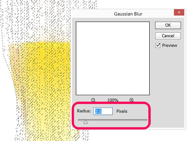 The Gaussian Blur Radius is at 2.1 Pixels.