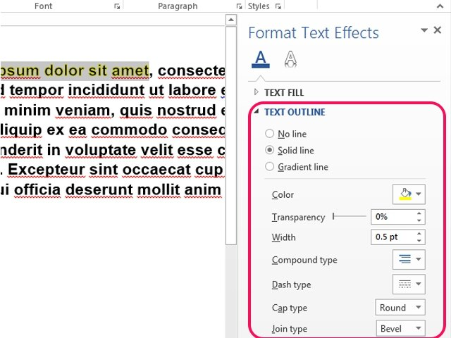To close the Format Text Effects pane, click the X button.