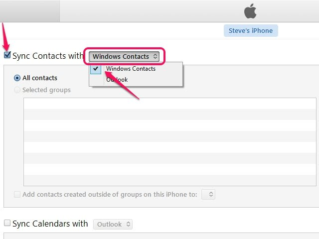 You have the option to sync all of your contacts or selected groups.