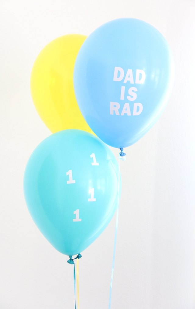 Make your own customized Father's Day decal balloons.