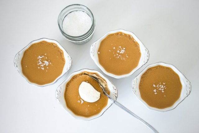 Enjoy the rich taste of carmelized sugar in butterscotch pots de creme.