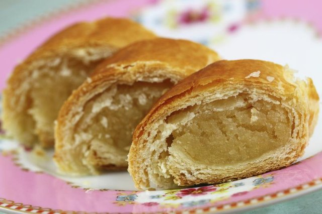 Pastries filled with marzipan