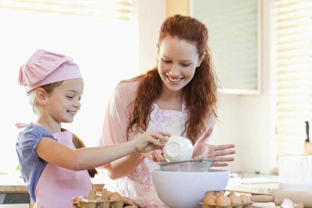 Mother and daughter baking cake