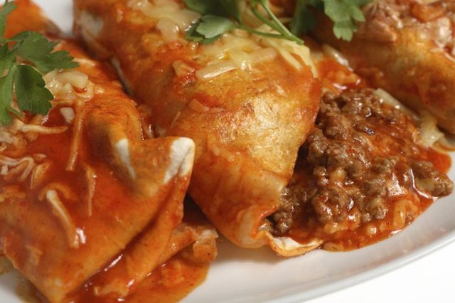 Red enchilada sauce pairs well with beef enchiladas.