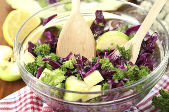 Vegetable salad in a glass bowl.