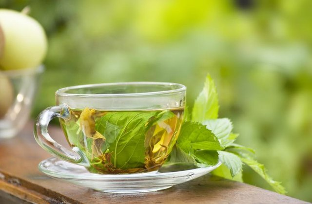 A cup of green mint tea.