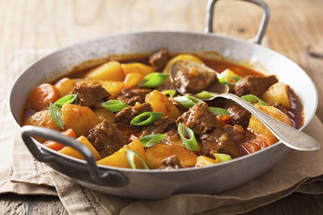 Beef stew with potatoes and carrots.