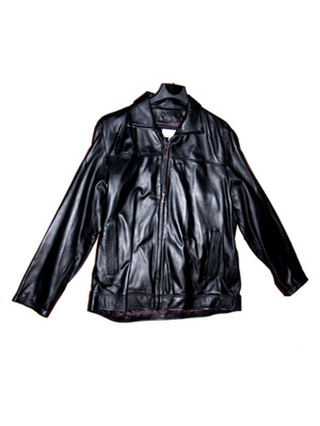Use a leather cleaner to remove sweat stains on a leather jacket.