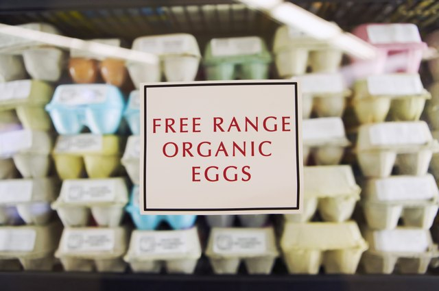 Organic eggs for sale at a market.