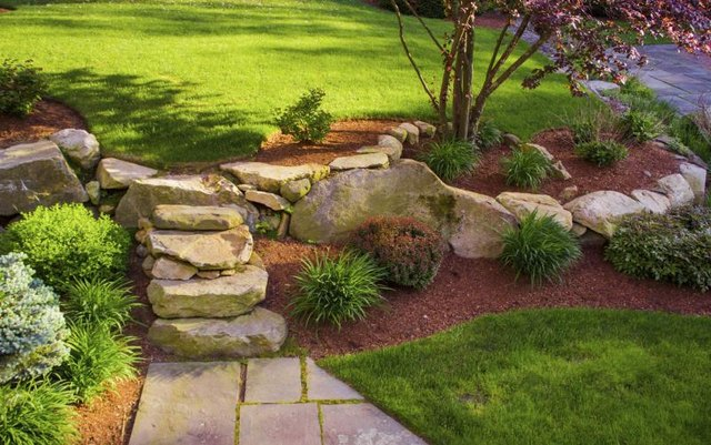 Landscaping With Wood Mulch : How to choose between rock and wood mulch with pictures