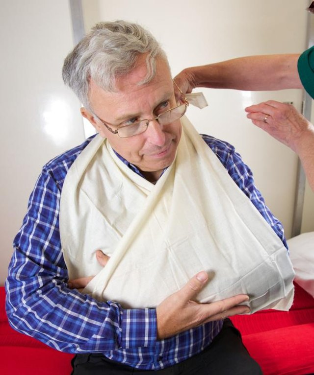 Any soft, strong cloth can be used to make a temporary arm sling.