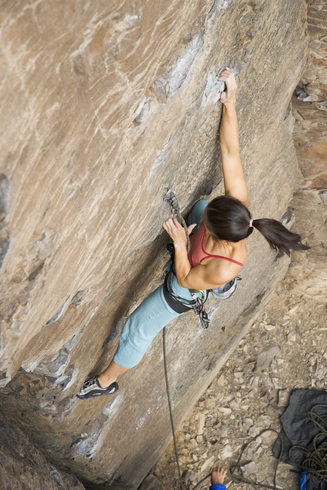 Muscular endurance of the arms and shoulders is crucial for rock climbing.