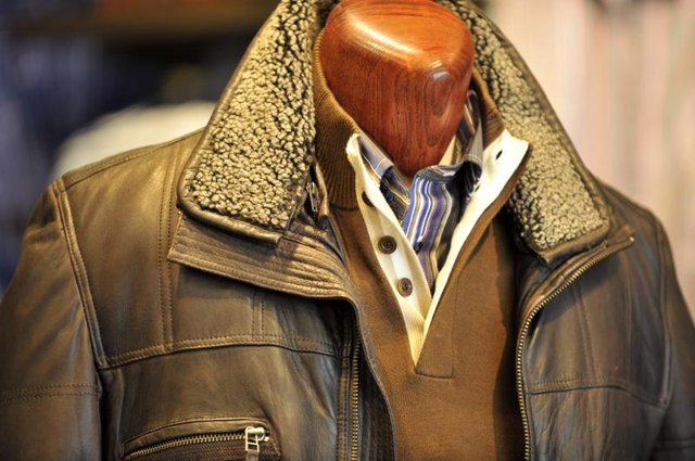 Aviator leather jacket on mannequin