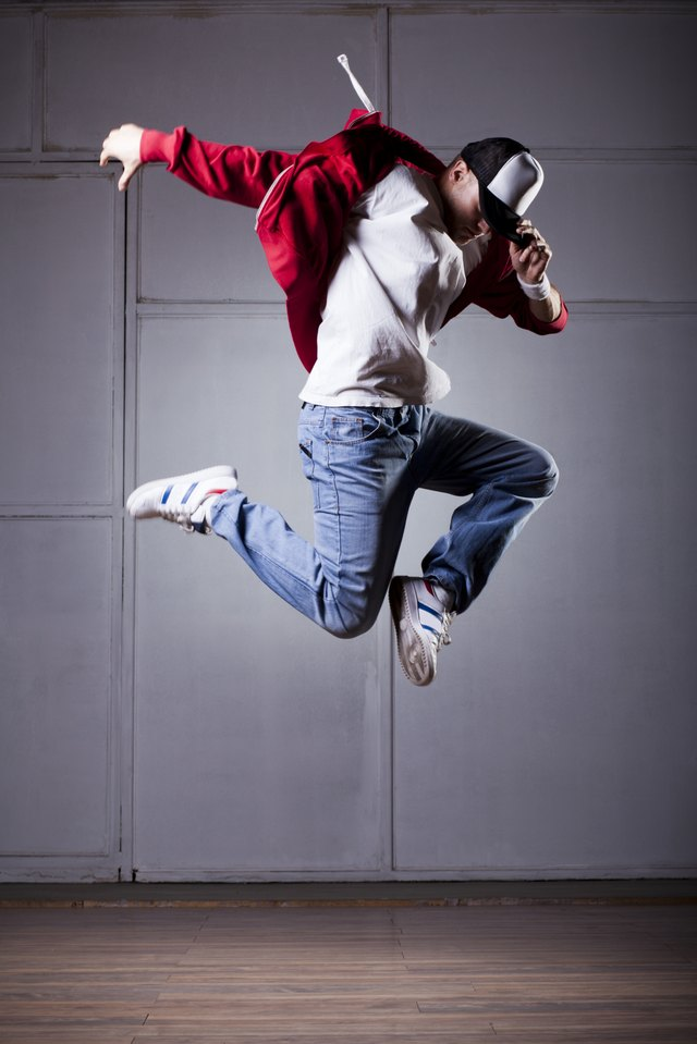 Hip hop dancer in air