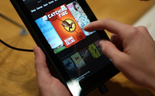 Unlike the e-readers, the Kindle Fire has a color display.