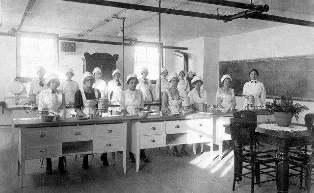 Early home economics classes provided students with a foundation in culinary arts.