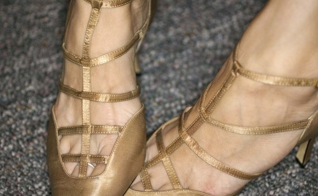 Strappy nude high-heels are elegant and easy to match.