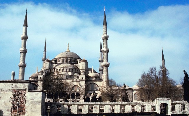 The elegant minarets of the Blue Mosque are a recognizable feature.
