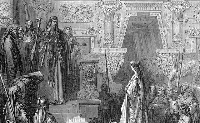 King Solomon welcomes the Queen of Sheba.
