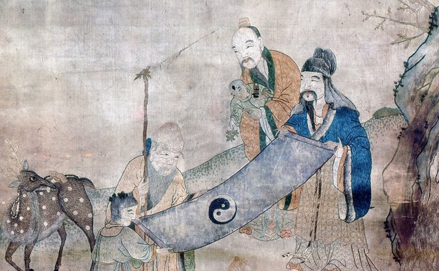 Taoist sages are depicted surrounded by symbols of long life.