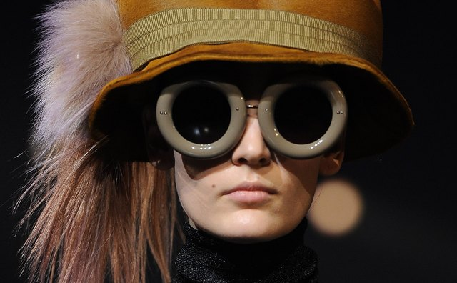 If you're not up for aviator goggles, try big glasses, like these from a Louis Vuitton ready-to-wear show.