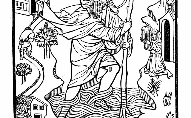 St. Christopher carried Christ across a stream.