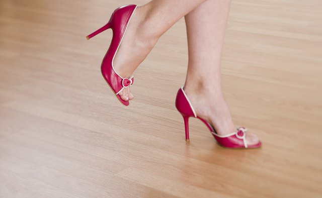 A bright pair of pumps can add a polished pop of color to a semi-formal look.