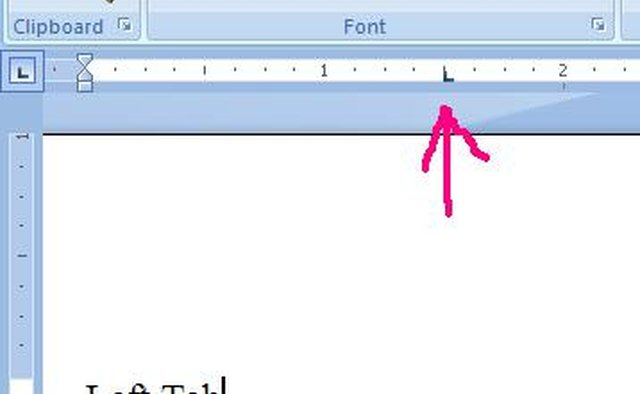 The left tab symbol appears in the ruler.