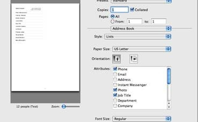 Print dialog box for a list
