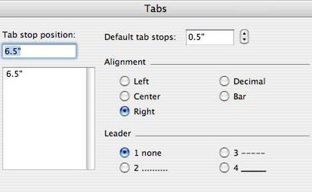 Figure 6 - The Format Tabs Dialog Box
