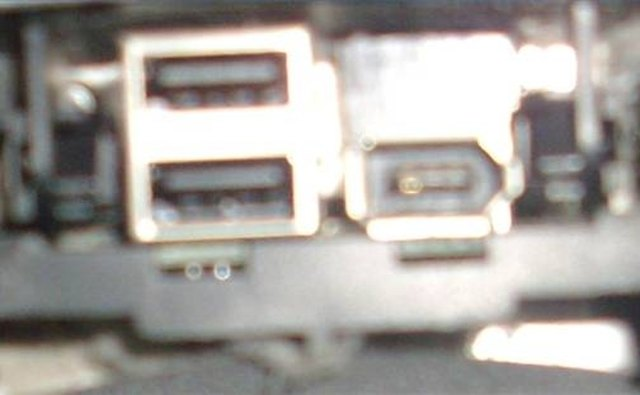 USB on the left side, firewire connection on the right side