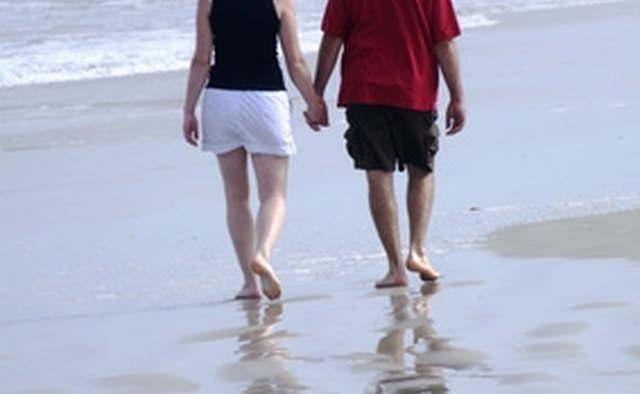A barefoot walk along the beach is romantic and sensual.