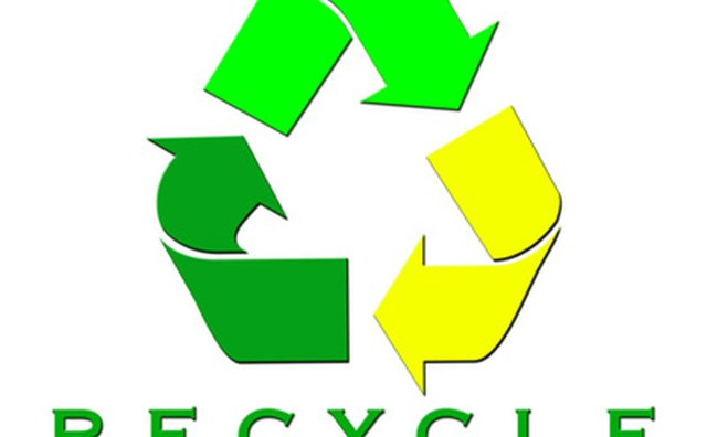 Three arrows drawn to convey movement form the universal symbol indicating an object is recyclable.