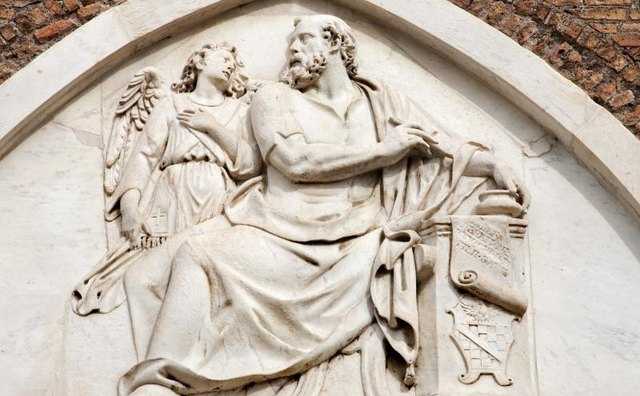 Saint Matthew is in a relief in Rome.
