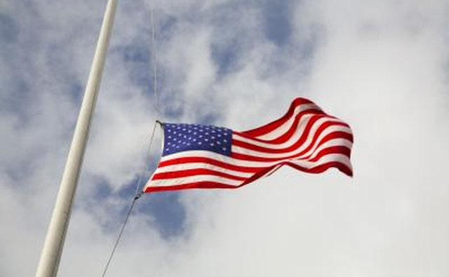 US Flag at half mast.