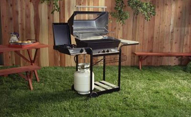 Grill in backyard