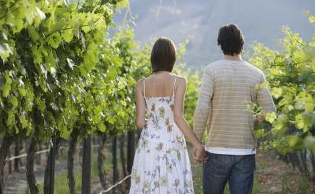 Couple on a romantic visit to winery