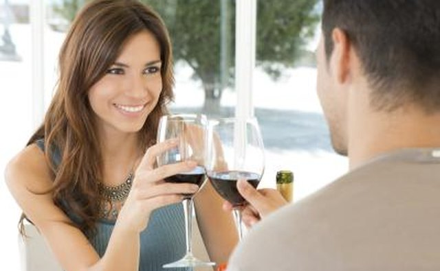 couple cheering with wine glasses