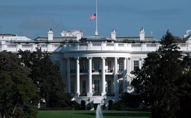 Flag at half mast above the White House in Washington D.C.