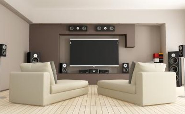 Home theatre system with speakers.
