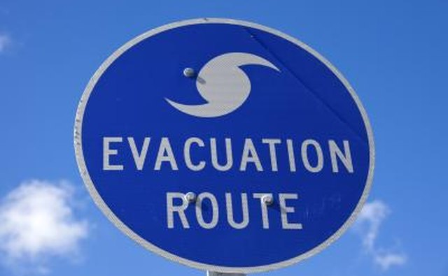 Evacutation route sign on highway
