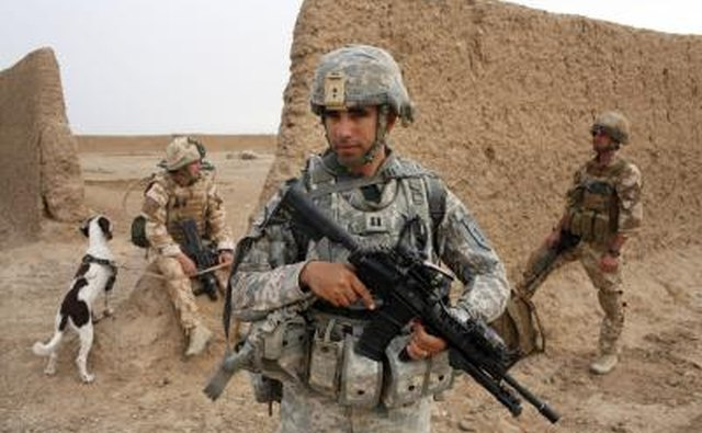 U.S. Army Captain with British Army soldiers during operation in Afghanistan.
