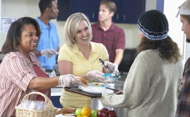 Women volunteering at soup kitchen